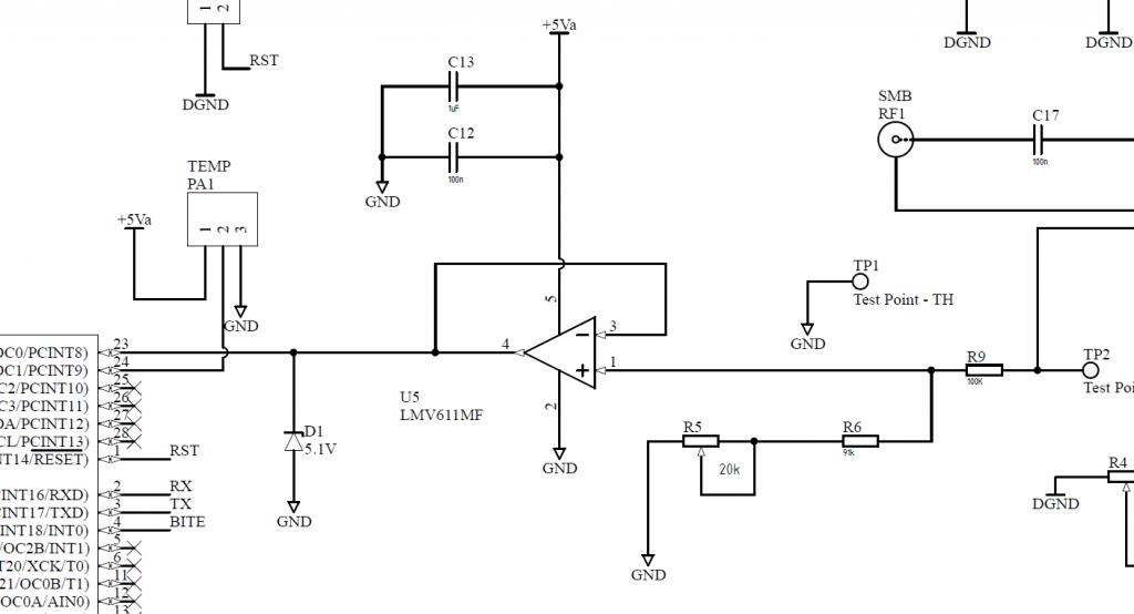 LPTO-101 voltage measurement. Voltage divider + voltage follower.